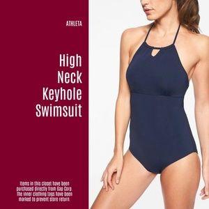 NWT Athleta High Neck Keyhole Swimsuit (B7)